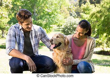 paar, mit, ihr, hund, park