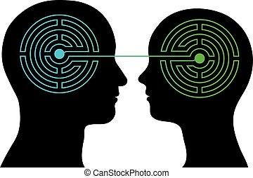 paar, mit, labyrinth, gehirne, kommunizieren