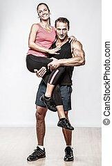 paar, mit, schöne , athletische, körper