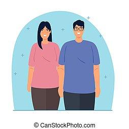 paar, multiculturalism, multiethnic, jonge, concept, ...