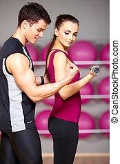 paar, op, de, gym