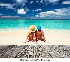 paar, op, een, strand, op, malediven