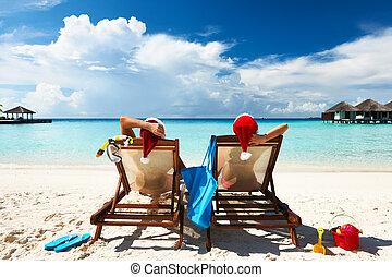 paar, op, een, strand