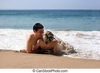 paar, op het strand