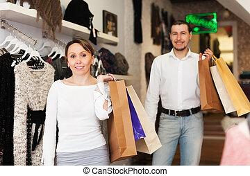 paar, op, kleding, boutique