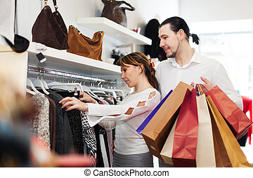 paar, op, kleding winkel
