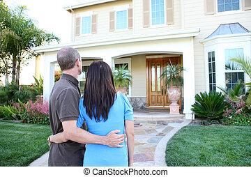 paar, op, nieuw huis