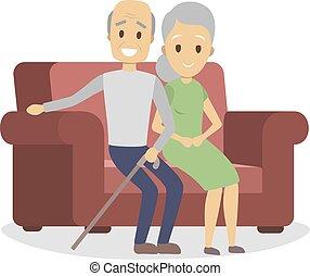 paar, oud, bankstel