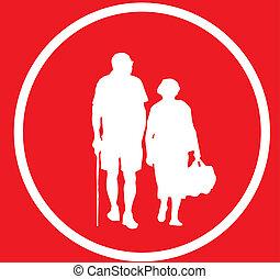 paar, oud, meldingsbord