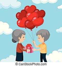 paar, oud, romantische, vrolijke