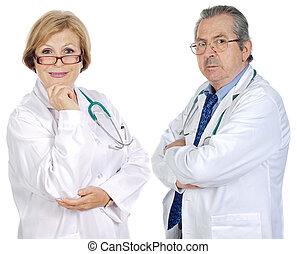paar, ouwetjes, artsen