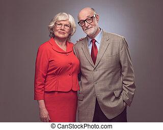 paar, ouwetjes, vrolijke , bejaarden