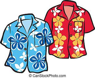 paar, overhemden, aloha