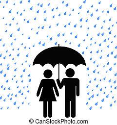 paar, paraplu, bevestigen, regen