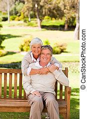 paar, park, bejaarden