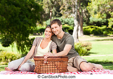 paar, picnicking, in het park