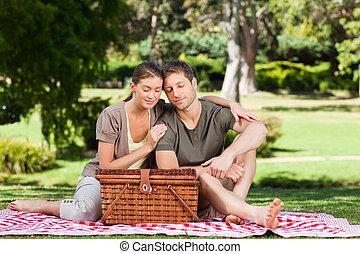 paar, picnicking, park