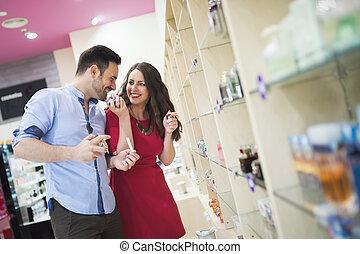 paar, pruefen, parfüme, und, düfte
