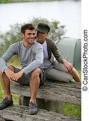 paar, reise, camping