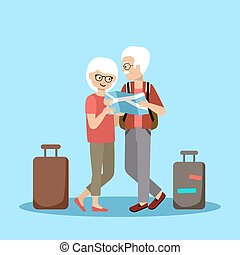 paar, reizen, oudere mensen