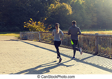 paar, rennende , of, jogging, buitenshuis