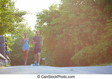 paar, rennender