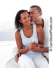 paar, resultaten, test, bevinding, zwangerschap, opgewekte,...
