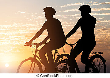 paar, rijdende fiets