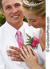 paar, ringen, trouwfeest