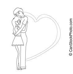 paar, romantische, het koesteren