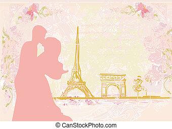 paar, romantische, parijs