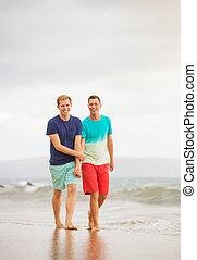 paar, sandstrand, gay