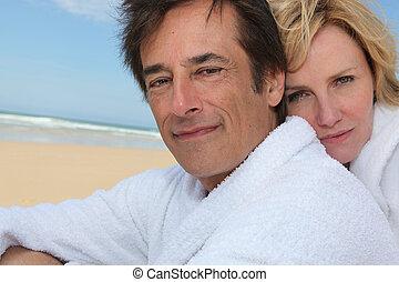 paar, sandstrand, hintergrund