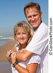 paar, sandstrand, prächtig