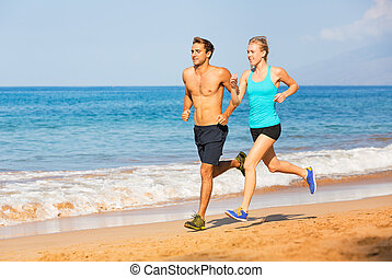 paar, sandstrand, rennender