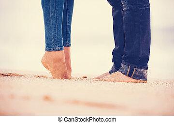 paar, sandstrand, romantische