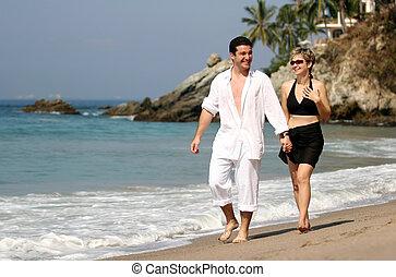 paar, sandstrand