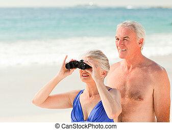 paar, sandstrand, vogel, senioren, aufpassen