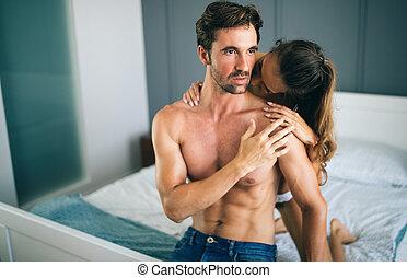 paar, schalfzimmer, sinnlich, vorspiel, sexy