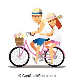 paar, schattig, fiets, karakter, spotprent