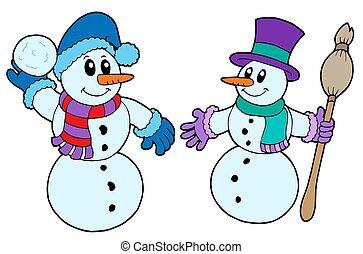 paar, schattig, snowmen