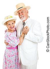 paar, senior, dancing, hartelijk
