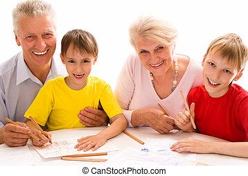 paar, senioren, enkelkinder