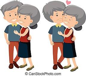 paar, set, oud, vrolijke