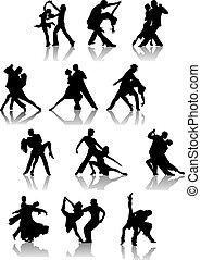 paar, set, silhouettes, dancing