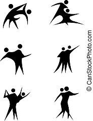 paar, set, staafje cijfer, dancing