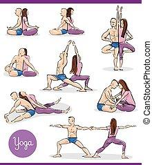 paar, set, yoga, illustratie