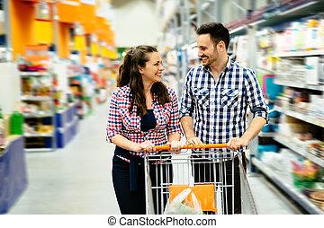 paar, shoppen , in, supermarkt