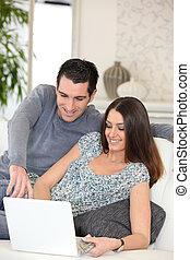paar, shoppen, internet