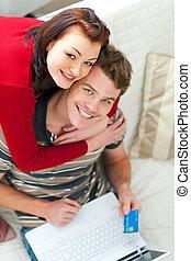paar, shoppen, junger, internet